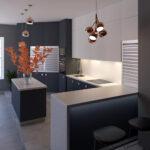кухня минимализм с барной стойкой
