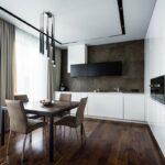 кухня минимализм с коричневым полом