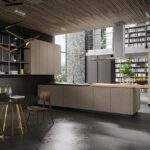 кухня минимализм с деревянным потолком