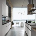 кухня минимализм с большим окном