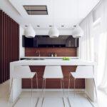 кухня минимализм с белыми светильниками