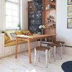 кухонный диван с круглыми стульями