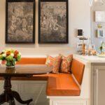 кухонный диван оранжевый