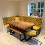 кухонный диван желтый кожаный