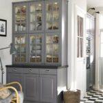 буфет кухонный серый стеклянный