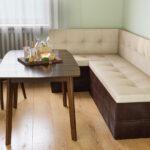 кухонная скамья белая с коричневым