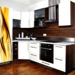 угловой гарнитур с желтым холодильником