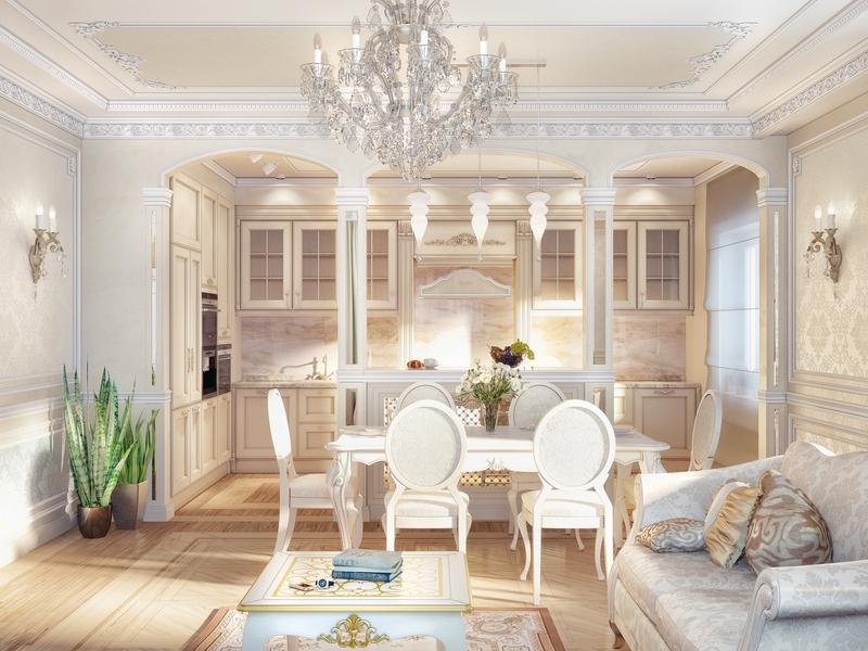 обеденная зона классического стиля кухни