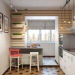 объединение балкона с кухней 12