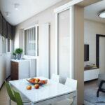 объединение балкона с кухней 15