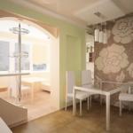 объединение балкона с кухней 22