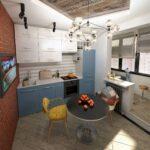 объединение балкона с кухней 25
