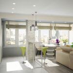 объединение балкона с кухней 33