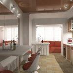 объединение балкона с кухней 4