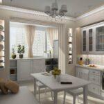 объединение балкона с кухней 39