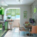 объединение балкона с кухней 8