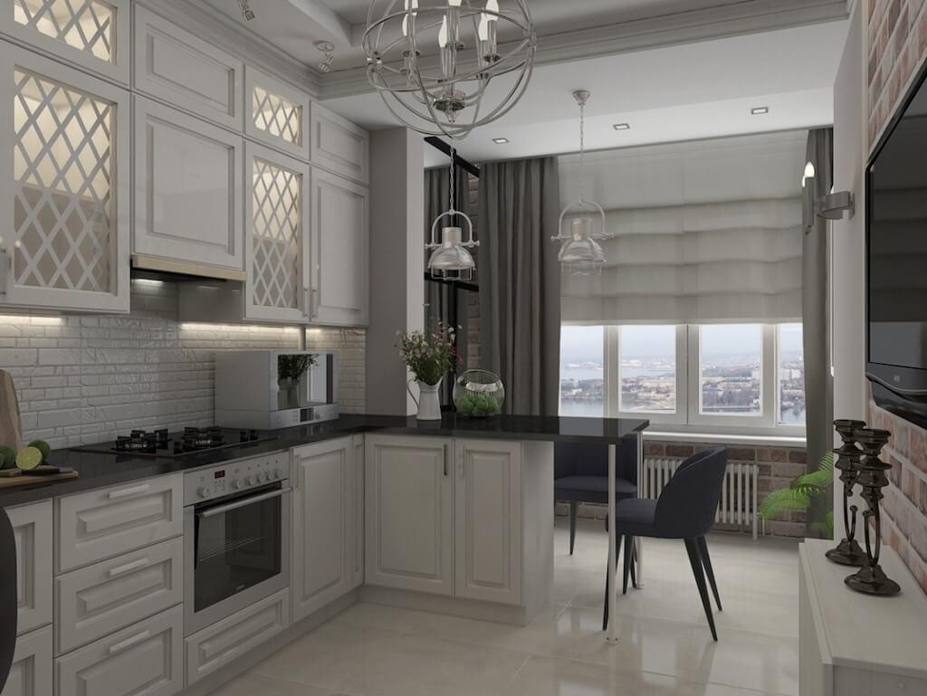 Особенности объединения балкона с кухней