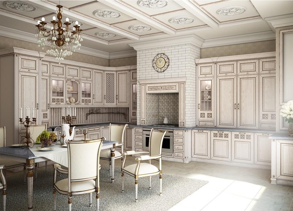 отделка классического стиля кухни