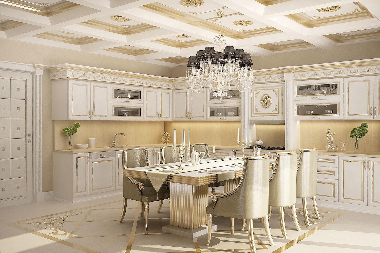 потолок классического стиля кухни