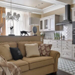 прямой диван на кухне фото