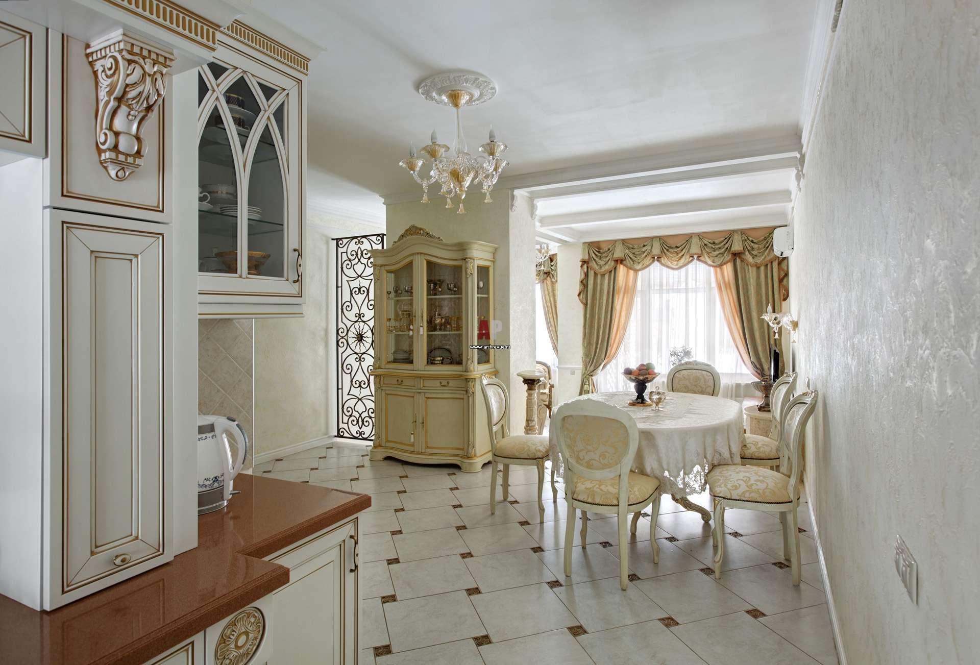 стены классического стиля кухни