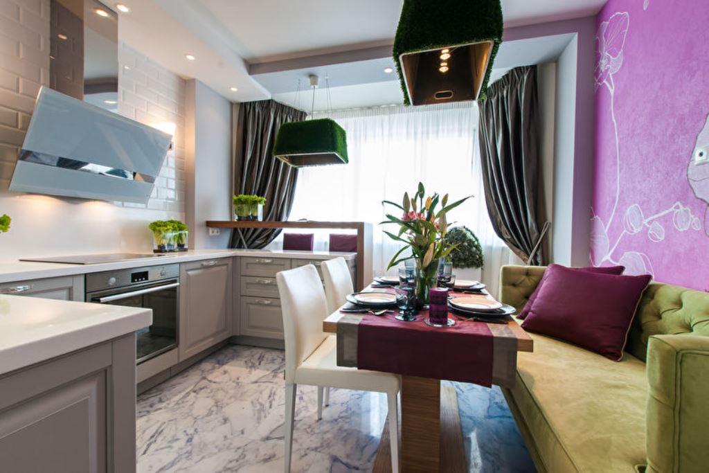 установка дивана на кухне